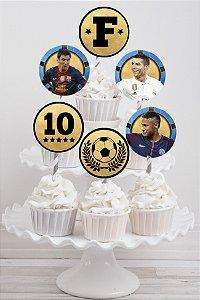 Embalagem com 20 toppers para cupcake Neymar,Messi e Cristiano Ronaldo