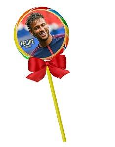 Adesivo personalizado para pirulito Neymar,Messi e Cristiano Ronaldo