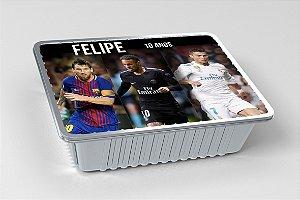 Tampa para marmitinha personalizada Neymar,Messi e Cristiano Ronaldo