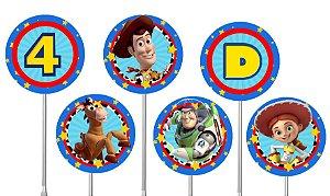 Embalagem com 40 toppers para docinhos Toy Story