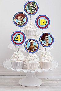 Embalagem com 20 toppers para cupcake Toy Story