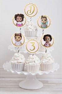 Embalagem com 20 toppers para cupcake Baby Alive