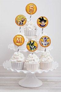 Embalagem com 20 toppers para cupcake Dragon Ball Z