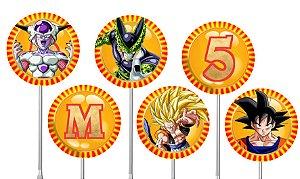 Embalagem com 40 toppers para docinhos Dragon Ball Z