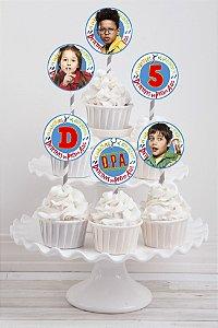 Embalagem com 20 toppers para cupcake D.P.A, Detetives do Prédio Azul