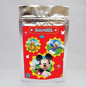 Saco metalizado com tag e corrente  A Casa do Mickey Mouse