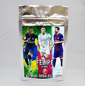 Saco metalizado Neymar,Messi e Cristiano Ronaldo