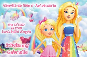 Convite digital personalizado Barbie Dreamtopia 001