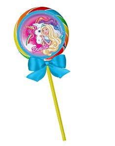 Adesivo personalizado para pirulito Barbie Dreamtopia