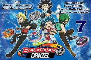 Convite digital personalizado Beyblade Burst 001