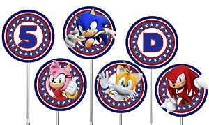 Embalagem com 40 toppers para docinhos Sonic