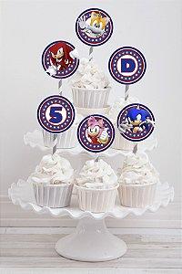 Embalagem com 20 toppers para cupcake Sonic