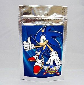 Saco metalizado com tag e corrente Sonic