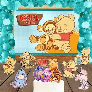 Kit convite, painel, totens e topo bolo Baby Pooh