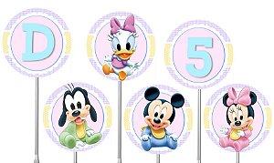Embalagem com 40 toppers para docinhos Baby Disney