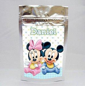 Saco metalizado com tag e corrente Baby Disney
