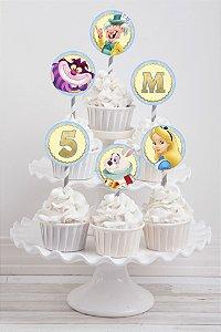 Embalagem com 20 toppers para cupcake Alice no País das Maravilhas