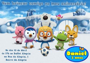 Convite digital personalizado Pororo: O Pequeno Pinguim 002