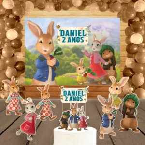Kit convite, painel, totens e topo bolo Peter Rabbit