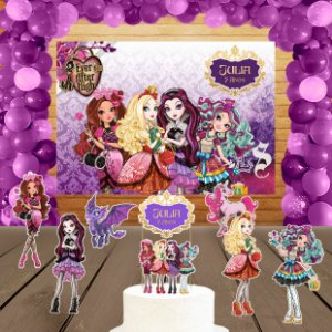 Kit convite, painel, totens e topo bolo Ever After High