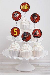 Embalagem com 20 toppers para cupcake Os Incríveis