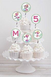 Embalagem com 20 toppers para cupcake Flamingo