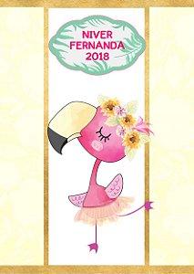Adesivo personalizado para bisnaguinha de brigadeiro Flamingo