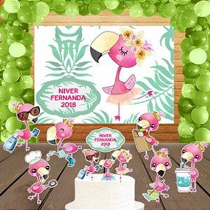 Kit convite, painel, totens e topo bolo Flamingo