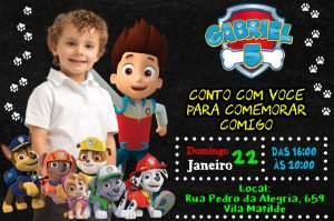 Convite digital personalizado Patrulha Canina 009 com foto
