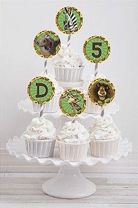 Embalagem com 20 toppers para cupcake Madagascar