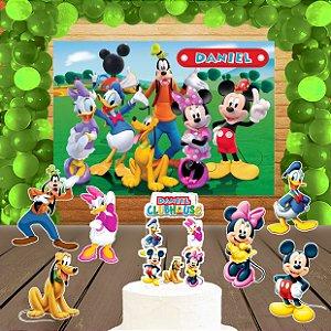 Kit convite, painel, totens e topo bolo A Casa do Mickey Mouse