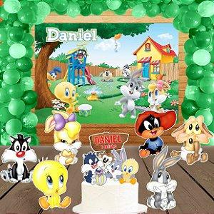 Kit convite, painel, totens e topo bolo Baby Looney Tunes