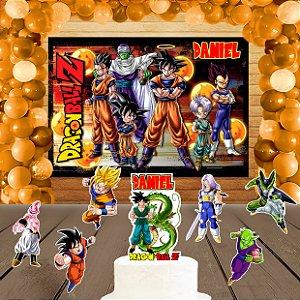 Kit convite, painel, totens e topo bolo Dragon Ball Z