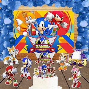 Kit convite, painel, totens e topo bolo Sonic