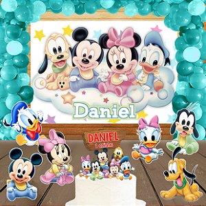 Kit convite, painel, totens e topo bolo Baby Disney