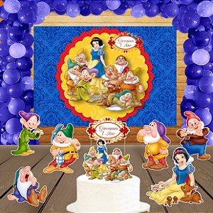 Kit convite, painel, totens e topo bolo Branca de Neve