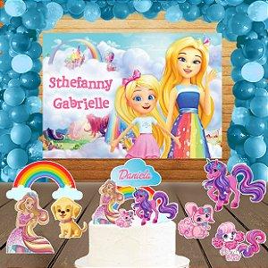 Kit convite, painel, totens e topo bolo Barbie Dreamtopia