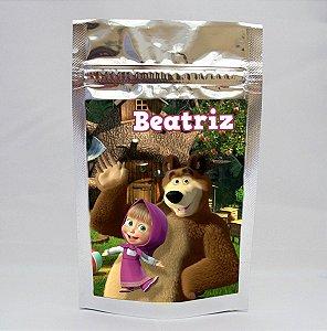 Saco metalizado com tag e corrente Masha e o Urso