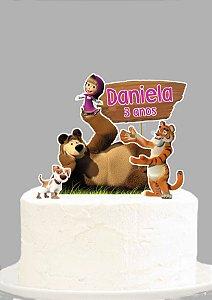 Topo de Bolo Personalizado Masha e o Urso