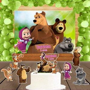 Kit convite, painel, totens e topo bolo Masha e o Urso