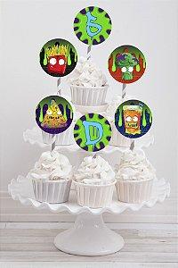 Embalagem com 20 toppers para cupcake The Grossery Gang