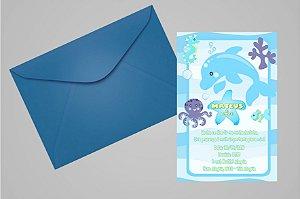 Convite 10x15 Fundo do Mar