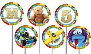 Embalagem com 40 toppers para docinhos Brinquedos