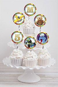 Embalagem com 20 toppers para cupcake Brinquedos