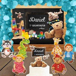 Kit convite, painel, totens e topo bolo Brinquedos