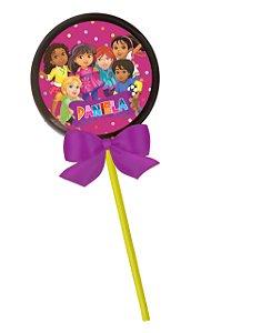 Adesivo personalizado para pirulito Dora e Seus Amigos na Cidade