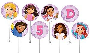 Embalagem com 24 toppers para cupcake Dora e Seus Amigos na Cidade