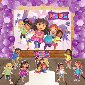 Kit convite, painel, totens e topo bolo Dora e Seus Amigos na Cidade