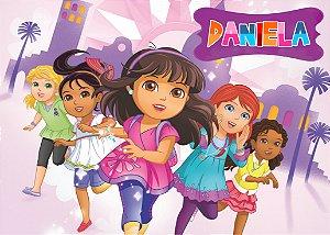 Painel TNT 1,40mx1m Dora e Seus Amigos na Cidade