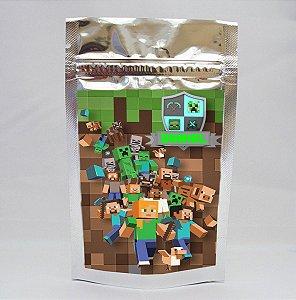 Saco metalizado com tag e corrente Minecraft